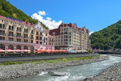 Rosa Khutor, Russia, Krasnaya Polyana - 22 July 2018: Hotels Tulip Inn and Golden Tulip in Rosa Khutor mountain and ski resort. `Rosa Khutor` is a year-round stock images
