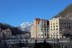 Rosa Khutor ski village in the winter. Royalty Free Stock Images