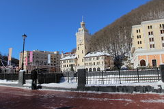 Rosa Khutor ski village in the winter. Royalty Free Stock Photos