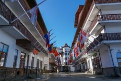 In the Olympic Village of Rosa Khutor, with all national flags ,Rosa Khutor, Sochi. Stock Photography