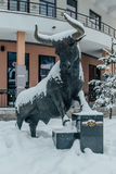 Rosa Khutor, Sochi, Russia, December 17, 2016: Statue of Bull Royalty Free Stock Image