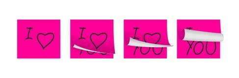 Rosa klebende Papiere der Liebe Stockfoto