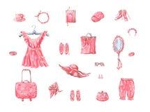 Rosa Kleider- und der Damenzubehör stockfotografie