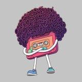 Rosa kompakter Kassetten-Charakter Mixtape-Illustration Superafro-Haarschnitt-Art Daumen up Geste Popmusik 80s, 90s vektor abbildung