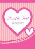 Rosa kort för hjärtaShape hälsning Royaltyfri Fotografi
