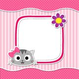 Rosa kort med katten Fotografering för Bildbyråer