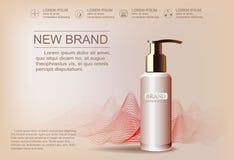 Rosa kosmetische Anzeigenschablone für die Werbung Stockbilder