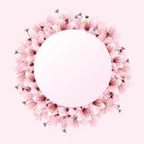 Rosa Kreisraum mit Blume Stockfotos