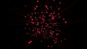Rosa kronblad som flyger in mot kameran, materiellängd i fot räknat stock illustrationer