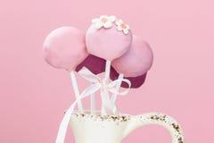 Rosa Kuchen knallt im keramischen Vase Lizenzfreies Stockbild