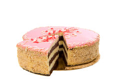 Rosa Kuchen lokalisiert Lizenzfreies Stockbild