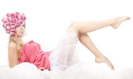 rosa kvinnabarn för härliga blommor Fotografering för Bildbyråer