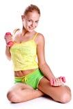 rosa kvinnor för hantelhänder Royaltyfri Foto