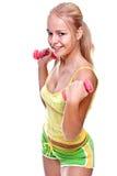 rosa kvinnor för hantelhänder Royaltyfria Foton
