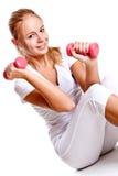 rosa kvinnor för hantelhänder Royaltyfria Bilder