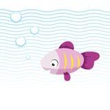 Rosa lächelnde Fische der modischen Karikatur, die unter Wasser schwimmen Blauwellen und -luftblasen lizenzfreie abbildung