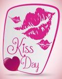 Rosa läppstiftfläckar för en älskvärd kyssdag, vektorillustration Arkivbild