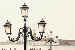 Rosa Lichter in Venedig, Italien Stockfoto