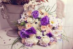 Rosa lila bukett Royaltyfria Bilder