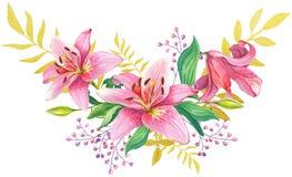 Rosa liljor Abstrakt blom- bakgrund Arkivfoton