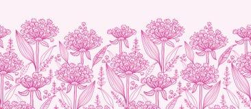 Rosa lillies lineart horizontale Grenze nahtlos Lizenzfreie Stockbilder