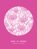 Rosa lillies lineart Kreis-Dekormuster vektor abbildung