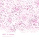 Rosa Linie Kunst blüht horizontales nahtloses Muster Stockfotografie