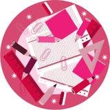 Rosa linjaler, blyertspennor, färgpennor, gemmar, papper Royaltyfri Fotografi