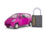 Rosa liten bil och kombinationslås Royaltyfria Bilder
