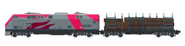 Rosa lokomotiv med den järnväg plattformen vektor illustrationer