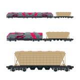 Rosa Lokomotive mit Trichter-Auto auf Plattform Lizenzfreie Stockfotos