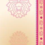 Rosa lotusblomma- och elefantindierbakgrund stock illustrationer