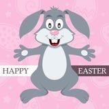 Rosa lyckligt påskkort med Bunny Rabbit Fotografering för Bildbyråer