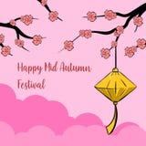 Rosa lykta för illustration av den lyckliga mitt- höstfestivalen royaltyfri illustrationer