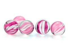 Rosa, mármores de vidro imagem de stock