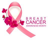 Rosa månad för medvetenhet för bandsymbolbröstcancer royaltyfri illustrationer