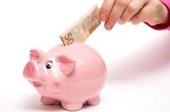 Rosa Münzenquerneigung als Schwein Stockfoto