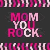Rosa mamma som du vaggar kort på mörker - grå bakgrund royaltyfri illustrationer