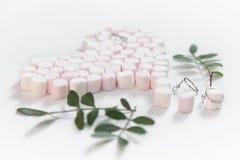 Rosa marshmellows hjärta och juvlar 2 Royaltyfri Bild