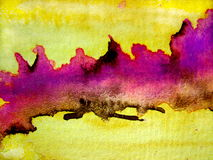 Rosa mit gelben Aquarell-Beschaffenheiten Stockfoto