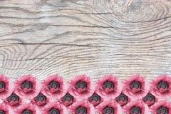 Rosa Mohnblumen auf Holzoberfläche mit Patina Stockbild