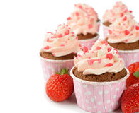 Rosa muffin Arkivbild