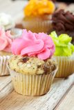 Rosa muffin för chokladchip Arkivfoton