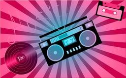 Rosa musikaliskt analogt retro gammalt rekord för vinyl för hipstertappninggrammofon, audiocassette, musikbandspelare från 80 `en vektor illustrationer