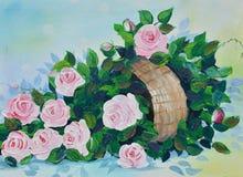 Rosa na pintura a óleo do potenciômetro na lona Imagem de Stock