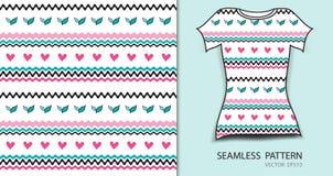 Rosa nahtlose Mustervektorillustration, T-Shirt Design, Gewebebeschaffenheit, kopierte Kleidung stock abbildung