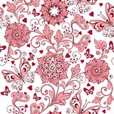 Rosa nahtloses Muster der Weinlese mit Herzen und Schmetterlingen Eleganter Hintergrund für Gewebe, Gewebe, Packpapier, Karte stock abbildung