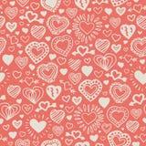 Rosa nahtloses Muster mit Doddle-Herzen stockfoto