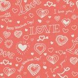 Rosa nahtloses Muster mit Doddle-Herzen lizenzfreie stockfotografie