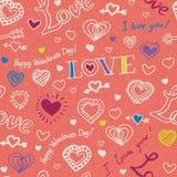 Rosa nahtloses Muster mit Doddle-Herzen lizenzfreies stockbild
